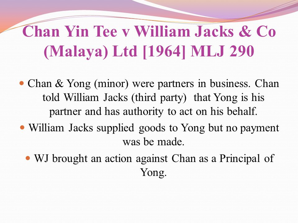 Chan Yin Tee v William Jacks & Co (Malaya) Ltd [1964] MLJ 290